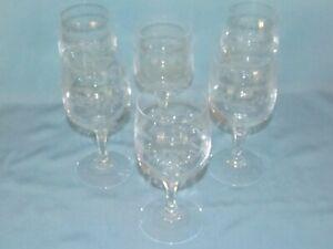 Pretty Series Of 6 Glasses Wine White Crystal Engraved Arques Model Matignon