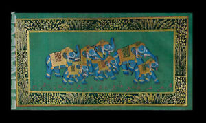 Hanging Wall Painting Mughal On Silk Art Elephant India 15 3/8x7 7/8in C16