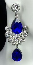 """Gorgeous! 2.75"""" Blue Crystal-Rhinestone Earrings, Drag Queen, Prom, Pageant"""