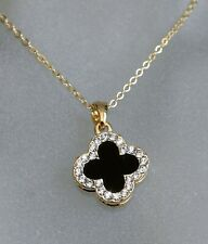 Sparkling Double Face Four-Leaf Clover & Tiny Swarovski Crystal Pendant (Y)