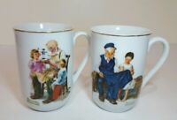 Set Of 2 Mugs Norman Rockwell Museum Collection 1982 Toymaker / Lighthouse