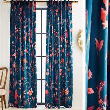 "Anthropologie Layne Velvet Teal Curtain Bold Floral NEW 63"" x 50"""