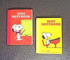 VINTAGE SNOOPY MINI NOTEBOOKS UNUSED x2 ONE YELLOW + ONE RED ~ BUTTERFLY ORIG'L