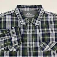 Croft & Barrow Button Up Quick Dry Shirt Men's Size Large Green Blue Gray Plaid