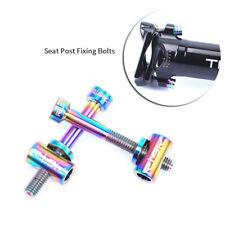 Seat Post Bolts M5*30/40mm Bike Bicycle Titanium Alloy Screws Nuts Washers 2 Set