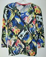 Talbots Tropical Colorful Cardigan Sweater S Flamingos Palm Trees Sail Boat etc.