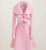 Women Wool Coat Jacket Lapel Collar Long Parka Trench Wedding Casual Outwear Hot