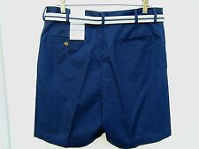 WINDHAM POINTE MEN'S SHORTS 35 X 6.5 Navy Blue Peacoat & Belt 60% Cotton NWT