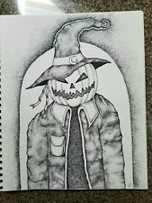Pumpkin Man- original art for sale by artist- Halloween Pointillism 11x14 in.