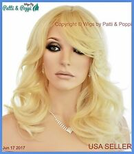 Synthetic Human Hair   Blend Wig Heat Safe Skin Top Blond 613 USA Seller 1220