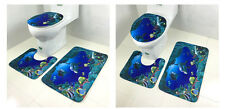 3PCS Dolphin Bath Mat Bathroom Pedestal Rug Washable Toilet Seat Cover Carpet