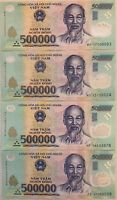 (4) x 500,000 VND Banknotes = 2 MILLION VIETNAMESE DONG CURRENCY - FAST DELIVERY
