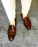 Mocassins en cuir marron à la main pour hommes Mocassins formels Chaussures à