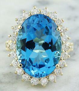 13.11 Carat Natural Topaz 14K Yellow Gold Diamond Ring