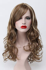 Light Golden Brown Mix Long Wavy Curly Bangs Women Daily Everyday Hair Full Wig