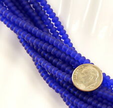 Rondelle Glass Beads, 3mm X 4mm, Royal Blue w/ Matte Finish, Aprox. 66 Pieces