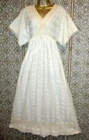 Vtg 70s Hippie Dress Wedding Boho Ivory Crochet Prairie Festival California
