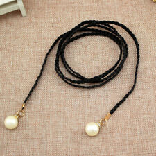 Women Belt Solid Color Waist Chain Hemp Rope Braided Thin Beige Pearl Dress Belt