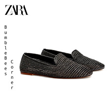 ZARA Moccasin Flats BRAIDED WEAVE Loafers BLACK WOVEN Shoes NWT 6528/301