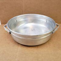 Vintage Hand-wrought Hand Hammered Metal Aluminum Bowl Serving Bowl Side Handles