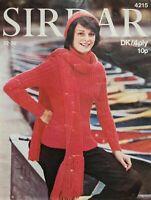 "Sirdar Knitting Pattern Ribbed Sweater Scarf & Hat Ladies DK 32-36"" 4215 Vintage"