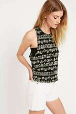 Urban Outfitters Staring at Stars Batik High Neck Tank Top Blk/Green XS RRP £16