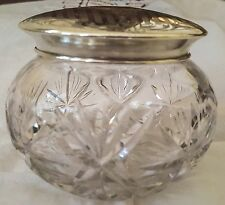 Antique Cut Glass Sterling Silver Vanity Powder Jar Monogrammed EAH