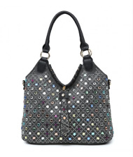 Womens Black Grey Medium Faux Leather Moda Tote Handbag & Free River Island Gift