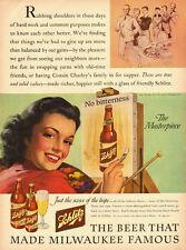 1943  WW2 er Ad, Schlitz Beer, Great illustration! -032814R(b)