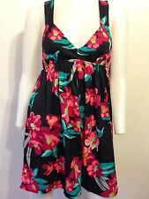 NEW ROXY DRESS FLORAL SUMMER BRIGHT PLUNGE NECK OPEN BACK COLORFUL BOHO URBAN XS
