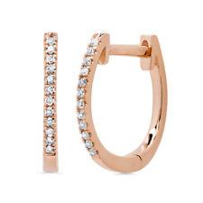 0.08CT 14K Rose Gold Natural Round Cut Diamond Oval Huggie Hoop Earrings