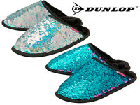 Ladies Sequin Sparkly Slippers Dunlop Unicorn Mermaid Soft Fluffy Padded Mules