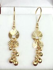 18k Solid Yellow Gold Ball Dangle Leverback Earrings, Diamond Cut 2.13 Grams