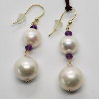 Ohrringe aus Gold Gelb 18K 750 Perlen Wasser Dolce und Amethyst Made in Italy