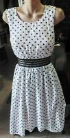 DOTTI BLACK AND WHITE POLKA DOT DRESS WITH SHEER WAISTBAND SIZE 10.