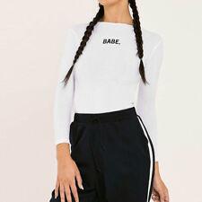 Womens BABE Long Sleeve Bodysuit Tops Romper Jumpsuit Playsuit Lingerie Blouse