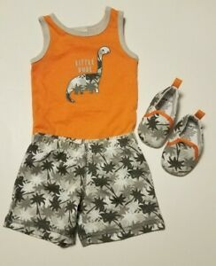Cutie Pie Baby Boy 3 Piece Outfit One Piece, Shorts, Shoes, 0-3M Dinosaur EUC