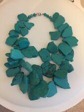 NWOT Dark Turquoise Cluster Statement Stone Slab Bib Necklace