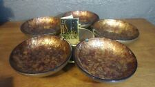 ERNEST SOHN MCM WALNUT GLASS BOWLS APPETIZERS LAZY SUSAN original tag signed