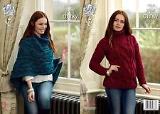 King Cole 4618 Knitting Pattern Sweater & Poncho Big Value Super Chunky Twist