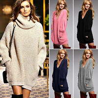 Women's Loose Knitted Sweater Dress Baggy Long Sleeve Jumper Top Mini Pullover