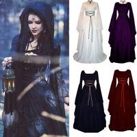Vintage Medieval Womens Dress Victorian Renaissance Gothic Costume Gown Dress