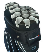 Founders Club Premium Cart Bag with 14 Way Organizer Divider Top - Black