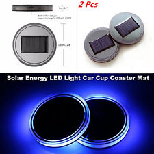 2Pcs Auto Car Truck Solar Energy Cup Holder Bottom Pad Blue LED Light Cover Mat
