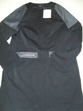 Erin Snow Kelsey Bonded Twill & Denim Coat NWT Large $750 Black  Made in USA