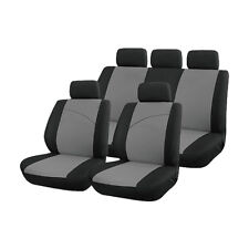 Grey and Black, Front & Rear Car Seat Covers: Soft Plush Velour (8 Piece)