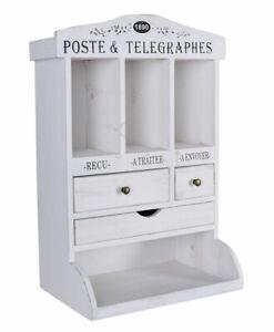 Wall Cabinet Shabby Chic Shelf White Letter Holder Tray Antique Hanging Wardrobe