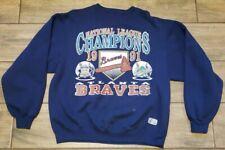 Vintage 91 Atlanta Braves  National League Champs Logo 7 Sweatshirt Size Large