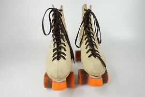 Vintage Sure Grip SuperX-8 Roller Skates Beige with Orange Wheels Lace Up Size 8