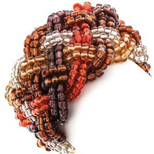 "1 3/4"" GOLD BRONZE MIX BEADS BRAIDED STRETCH bracelet"